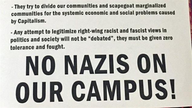 迈克马斯克大学的反纳粹传单。