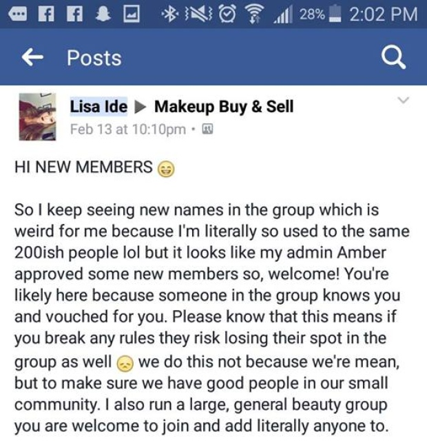 Lisa Ide post from Makeup Buy & Sell